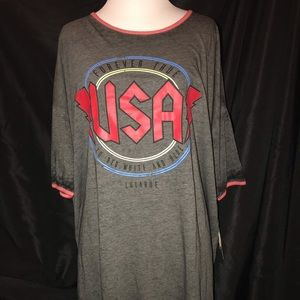 NWT Lularoe Irma AC/DC USA Design M RUNS Large